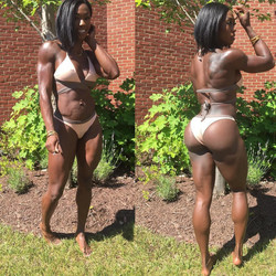 Athletic and muscular ebony women