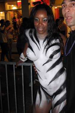 Naked black milf. Body art festival of..